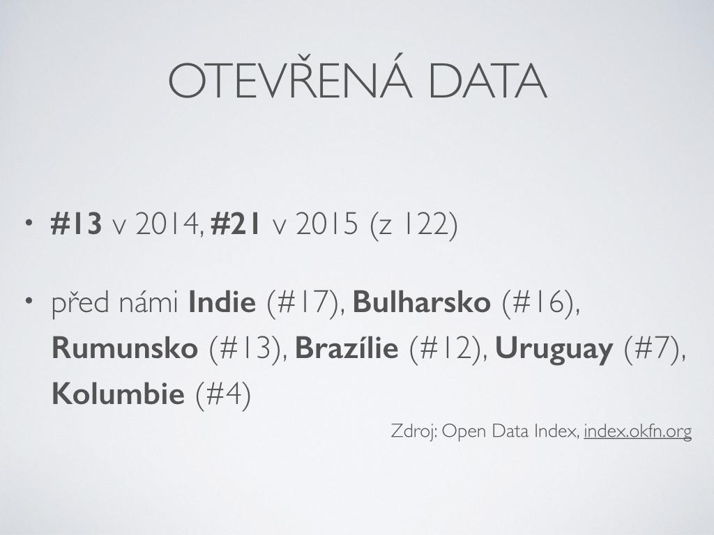 otevřená data - #13 v 2014, #21 v 2015 (z 122) před námi Indie (#17), Bulharsko (#16), Rumunsko (#13), Brazílie (#12), Uruguay (#7), Kolumbie (#4)Zdroj: Open Data Index, index.okfn.org