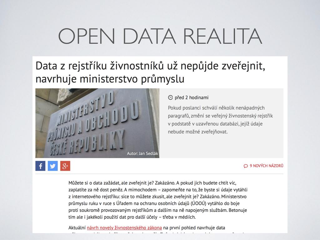 open data realita - Data z rejstříku živnostníků už nepůjde zveřejnit, navrhuje ministerstvo průmyslu